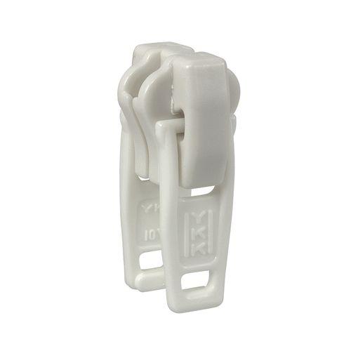 Deslizador diente de perro cadena 10 YKK - Plástico doble - Blanco