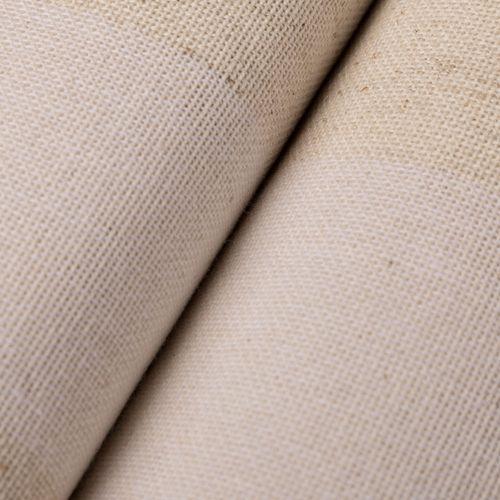 Tela tipo lino rayado - Blanco y natural